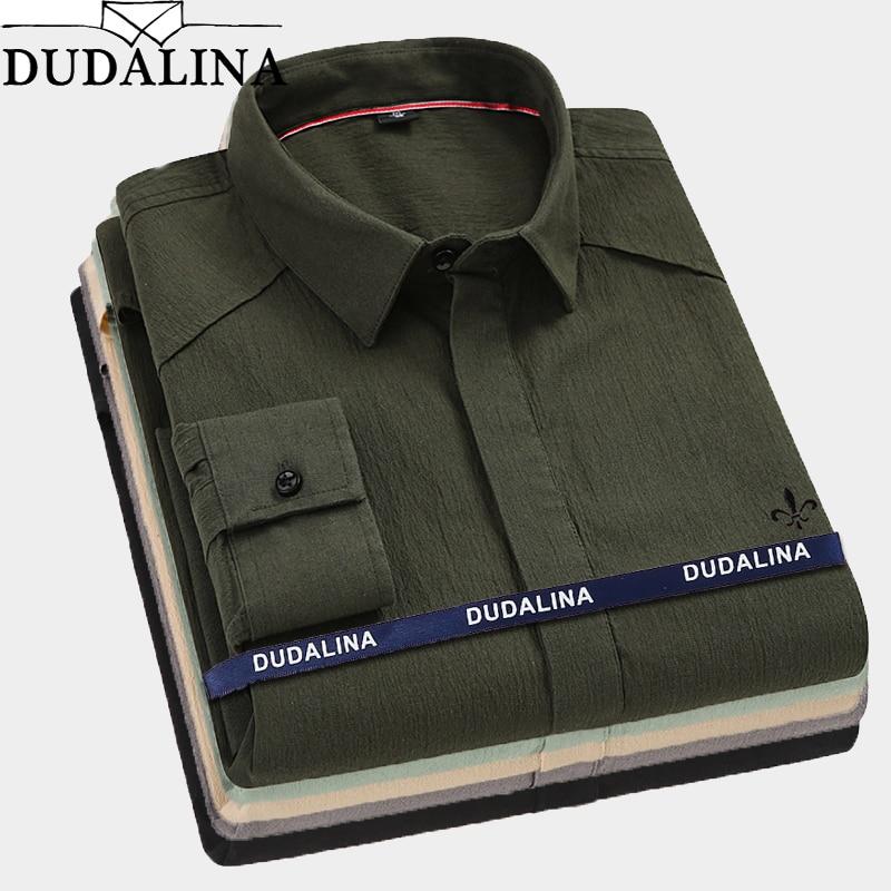 Dudalina 2019 男性竹繊維男性シャツ男性長袖ソリッドスリムフィットカジュアルシャツメンズ社会ビジネス  グループ上の メンズ服 からの カジュアル シャツ の中 1