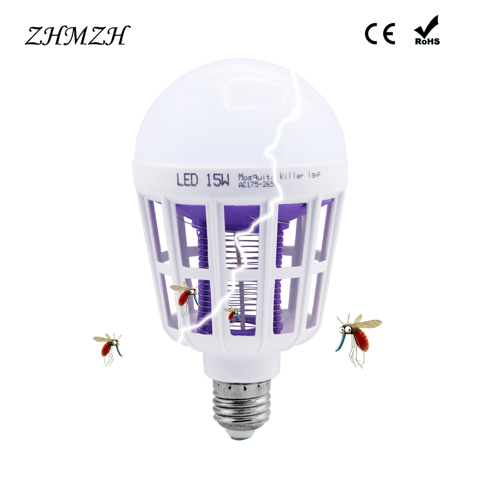 Dual Used 15W LED Bulb E27 Mosquito Killer Lamp 110V 220V Mosquitoes Repellent Killing Lighting Bug Zapper Energy Saving Lamps socket electric mini mosquito lamp led insect mosquito repeller killing fly bug insect night housefly freeshipping
