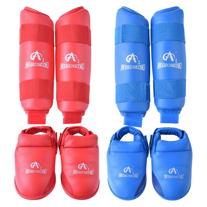 karate shin and instep guard karete Leg Protector with Instep Guard Blue  red karate kata applications