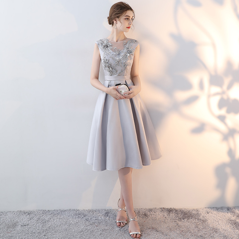 2019 New Korean Style Simple Evening Dress Illusion O-neck Appliques Flower Beaded Party Elegant Banquet Prom Dress