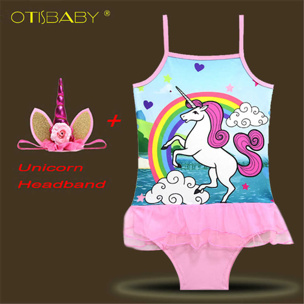 b9478ed7ac Girls Unicorn One Piece Swimsuit Sweet Little Pony Swimwear Baby Girls Vest  Bathing Suit Swim Cartoon
