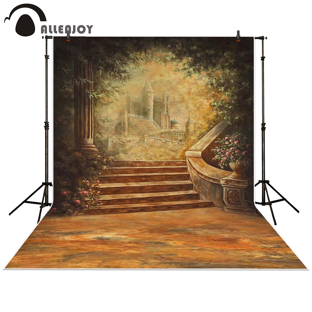 Allenjoy Photography backdrops background Retro European castle stairs garden princess baby shower studio