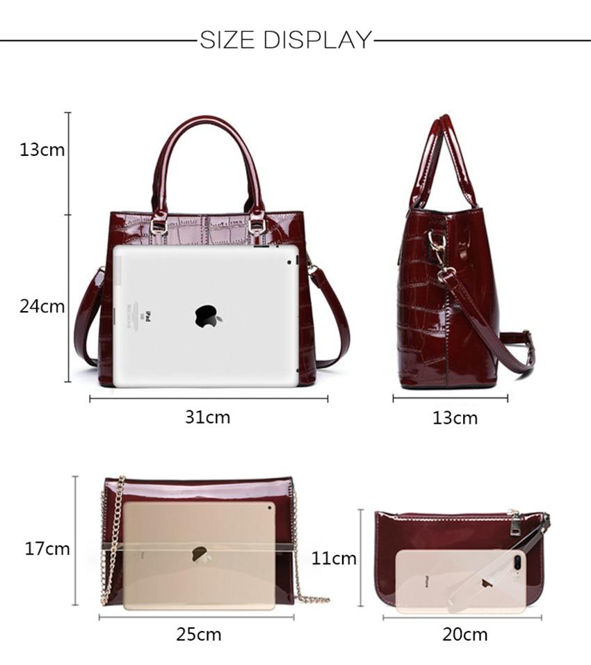 Moda 3 conjuntos de bolsas femininas 2018