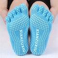 Completa Meias Toe Não-Slip Anti Slip Pilates Exercício Aderência Durável Deportes de Dança Algodão Meia Tornozelo Cor Pura Impresso Meias carta