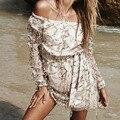 New dress,Sexy off shoulder sequin tassel summer dress 2016 beach party short dress Women backless vintage dress vestidos C1007