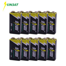KINBAT 10pcs 9V 6F22 Super Heavy Duty Battery 9 Volt 6F22 High Volume Carbon Zinc Primary Dry Battery For Multimeter Camera Toys