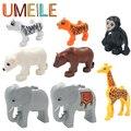 Umeile marca 1 pcs original duplo conjunto de partículas grandes blocos de construção de animais do jardim zoológico crianças brinquedos diy tijolo compatível com duplo presente