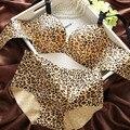 Novo Luxo Leopard respirável V profundo reunir sutiã ajustável conjunto de roupa interior das mulheres peça de lingerie Sem Costura conjunto de sutiã e calcinha