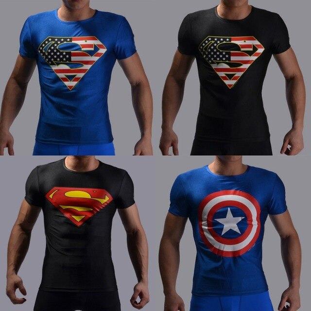 Camisa De Compressão marca Superman Capitão América homem De Ferro 3D T- Shirt da Cópia 32ffb099a779a