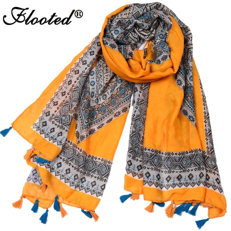 Designer Scarf Women Luxury 2017 Geometric Printed Scarfs for Ladies Womens Scarves Shawl Girls Cotton Tassel Long Pashmina