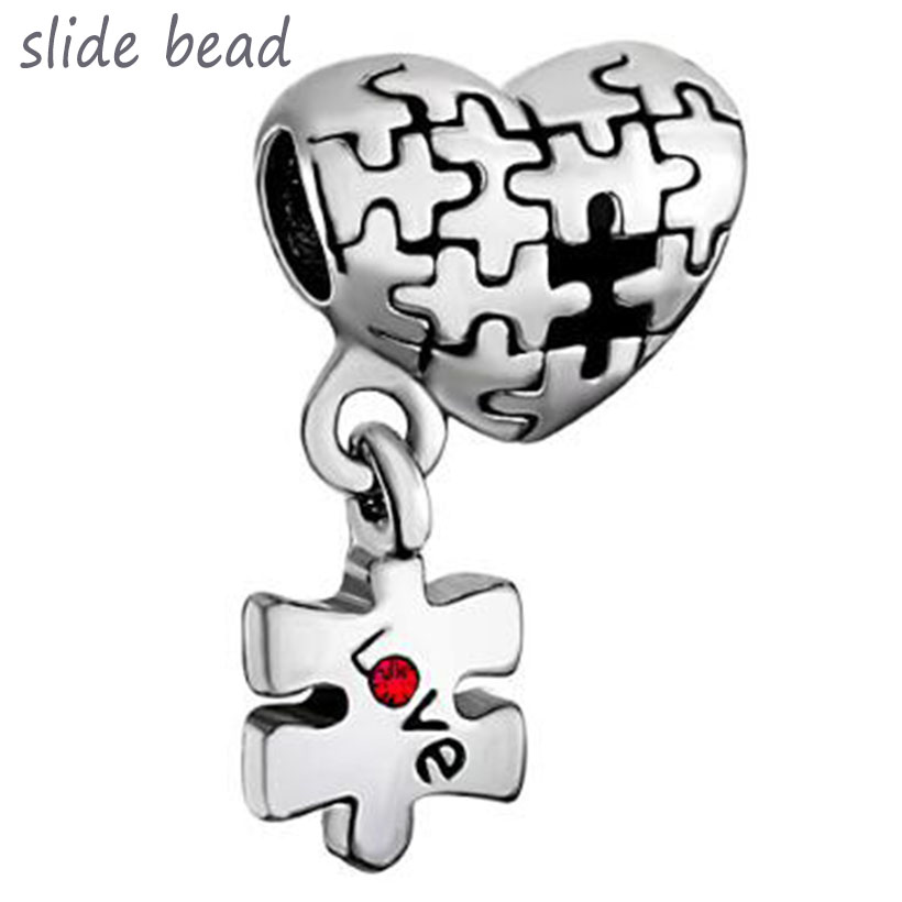 Fit Pandora charm bracelets Autism Awareness Heart Charm Bracelet Dangle Love Red Crystal Charm Beads beads for jewelry making(China)
