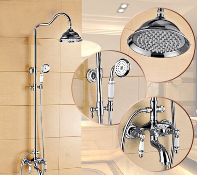 Luxury Chrome Brass Shower Faucet Sets Wall MOunted Bathromm Shower Faucet Rain Shower Head Tub Spout Mixer Tap W/ Hand Sprayer luxury chrome brass shower faucet sets wall mounted bathromm shower faucet rain shower head tub spout mixer tap w hand sprayer