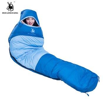 Mummy style single person adult ultralight duck down filling lunch break sleeping bags