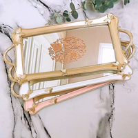 European Luxurious Carving Makeup Trays Gold Mirror Glass Resin Fruit Plate Cupcake Candy Trays Wedding Party Jewelry Tray