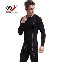 Wangjiang Thermal Underwear Men Long John Set Bamboo Fiber Sleepwear Man Tight Pajamas Long Sleeve Shirt Tops+Pouch Pants