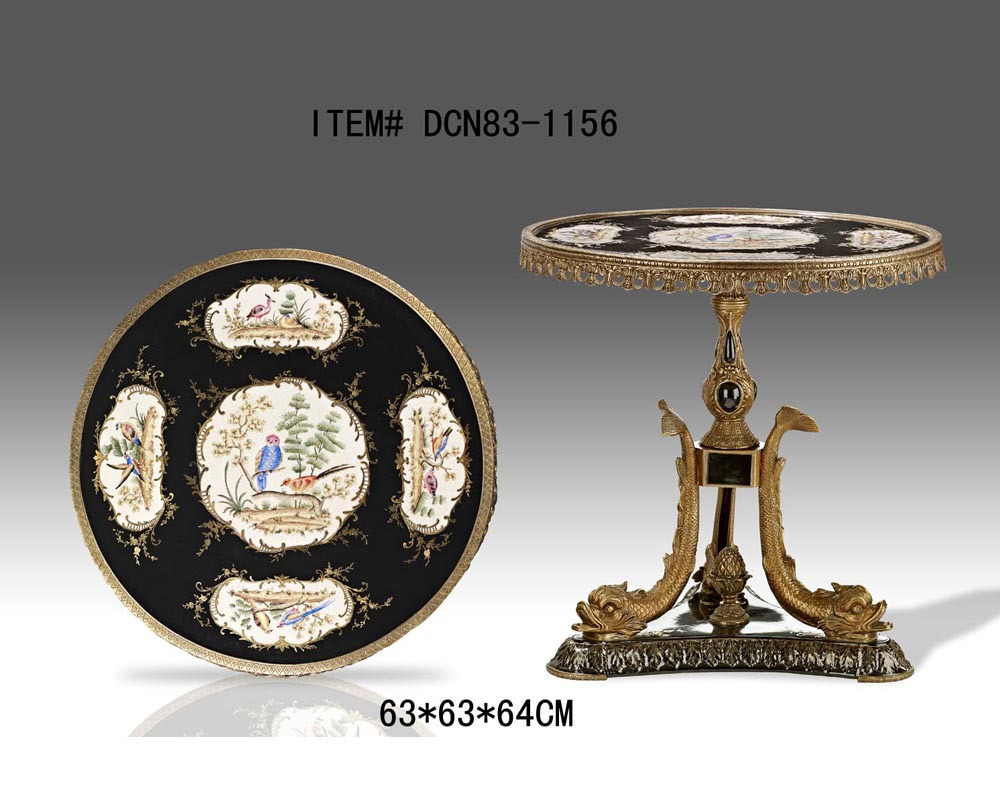 Luxury Round Brass Porcelain Arowana Decorative End Table Antique Bronze Side Table Refined Console