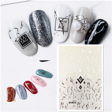 3d nail stickers art Newest WG-04 marbling design Japan style decals back glue DIY decorations
