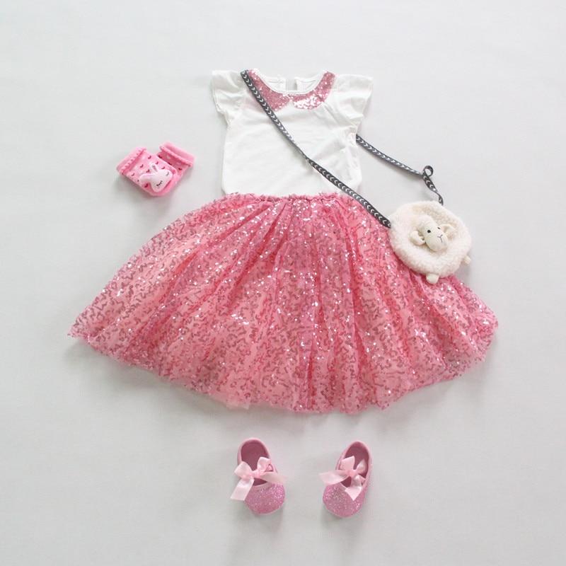 93c8d95e3b 2015 Novo conjunto de roupas menina verão 2 pcs set curto t-shirt da luva +  lantejoulas saia princesa roupa dos miúdos roupas infantis menina