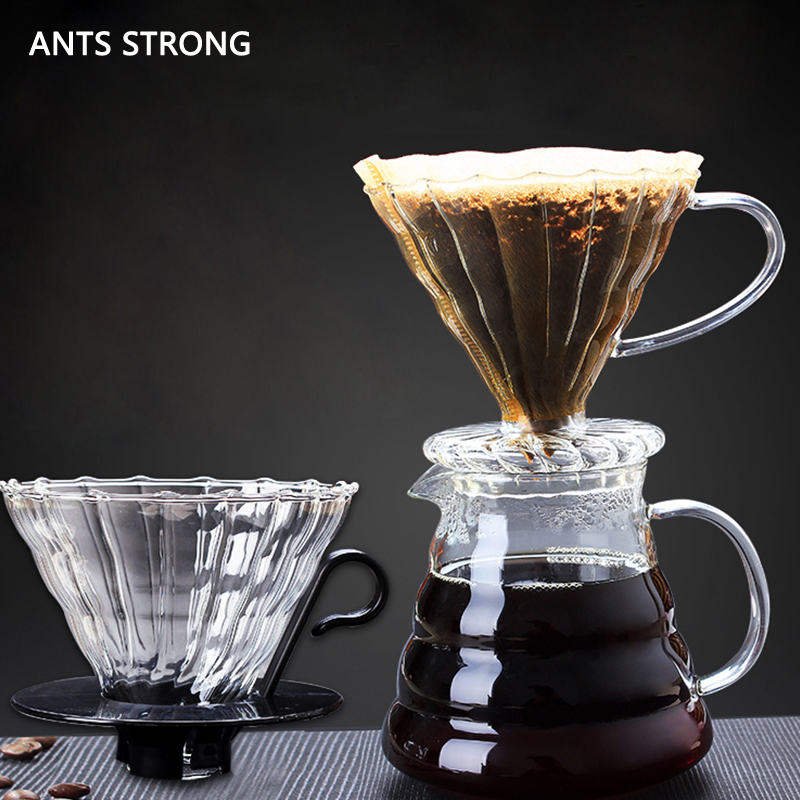 ANTS STRONG stripe heat-resistant glass coffee filter/handmade with handle coffee funnel thickening drip filter