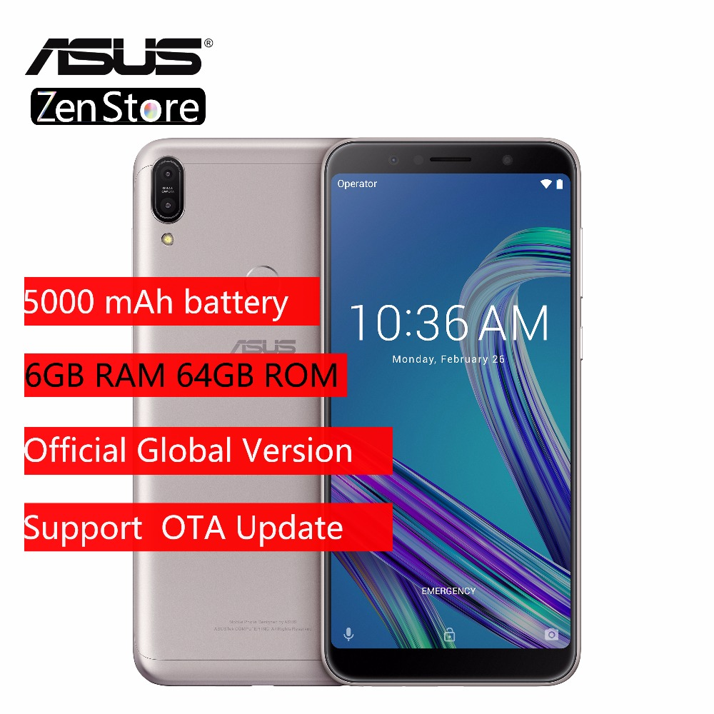Global Version ASUS ZenFone Max Pro (M1)ZB602KL 6GB 64GB 6 Inch 4G LTE Smart Unlocked Cell Phone Face ID 5000mAh Android8.1(China)