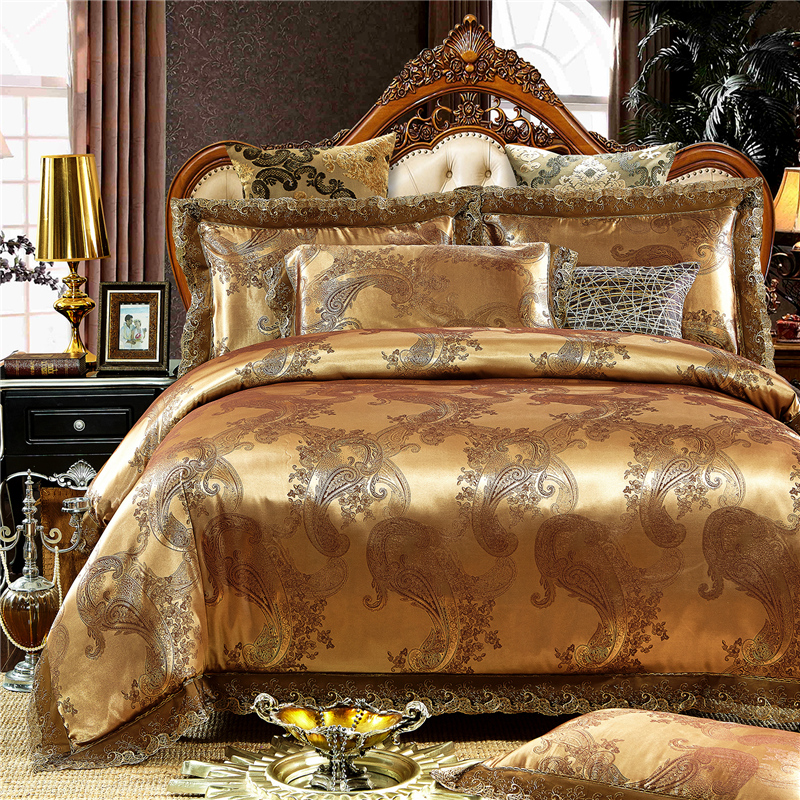 2017 gold white blue jacquard silk bedding set luxury 4pcs satin bed sets duvet cover king queen. Black Bedroom Furniture Sets. Home Design Ideas