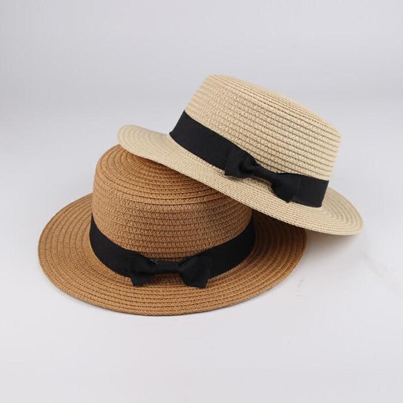 Summer Women Boater Beach Hat Female Casual Panama Hat Lady Ribbon Classic Bowknot Flat Sun Hat Women Fedoras Travel