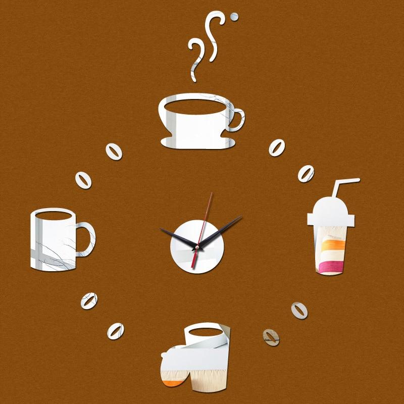 Hot Sale Quartz Wall Clock Acrylic Mirror Stickers Coffee Cup Decoration Wall Stickers Modern Design Wall Clocks