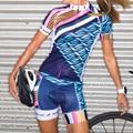 Radfahren Anzug Uniforme Sommer Frauen Blau kurzarm Fahrrad Shirts Bike Jersey Set Luft Kleidung Kit Bib Shorts Mujer Ciclismo