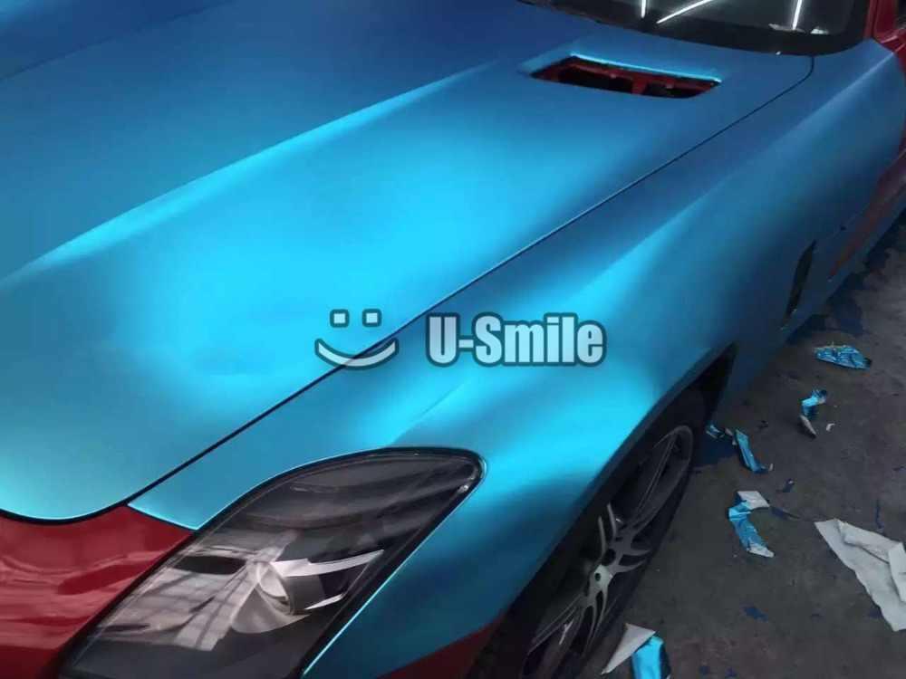 Premium Satin Matte Metallic Aluminum Blue Vinyl Wrap Sheet Bubble Free Car  Graphic