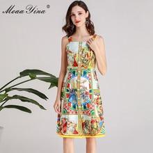 MoaaYina Fashion Designer Runway Dress Summer Women Spaghetti strap Pearl Button Floral-Print Vacation Beach Dress все цены