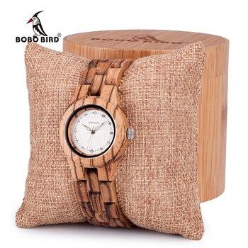 BOBOนกไม้ไผ่ไม้ผู้หญิงนาฬิกาข้อมือควอตซ์กับเพชรนาฬิกาเข็มกลัดพับในกล่องของขวัญสุภาพสตรีโ...