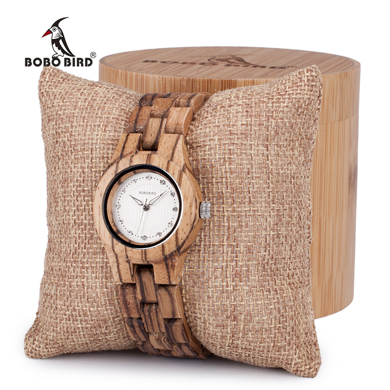 BOBO BIRD bamboo wooden Women Quartz with diamond watches Folding clasp in Gift box ladies clock
