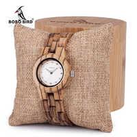BOBO BIRD women watches Wooden Women Wrist Watch Quartz With Diamond Watches Folding Clasp in Gift Box Ladies custom logo