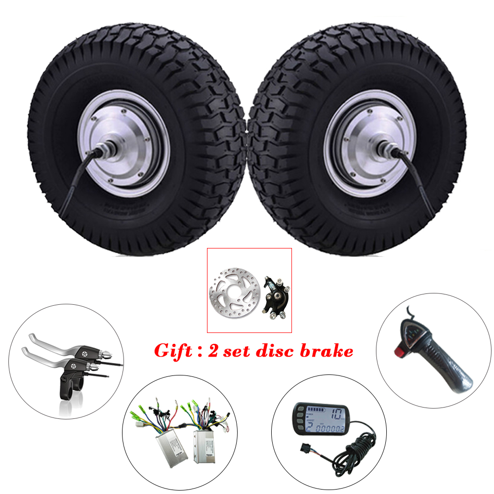 Dual Drive Wheel DIY Electric Scooter kit 15'' 24V-48V 250W-800W 12-50KM/h BLDC Gear-less Electric Hub Motor Electric Tricycle 40km h 4 wheel electric skateboard dual motor remote wireless bluetooth control scooter hoverboard longboard