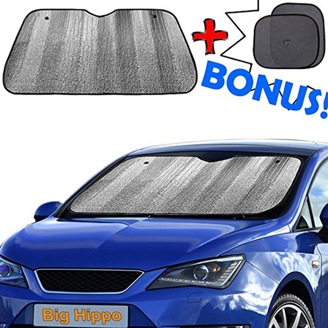 Big Hippo Car Windshield Sun Shade + Bonus Car Sunshade for Side Sunshades  Best UV Ray Visor Protector Shades Front Window Shade 25f98b766b0