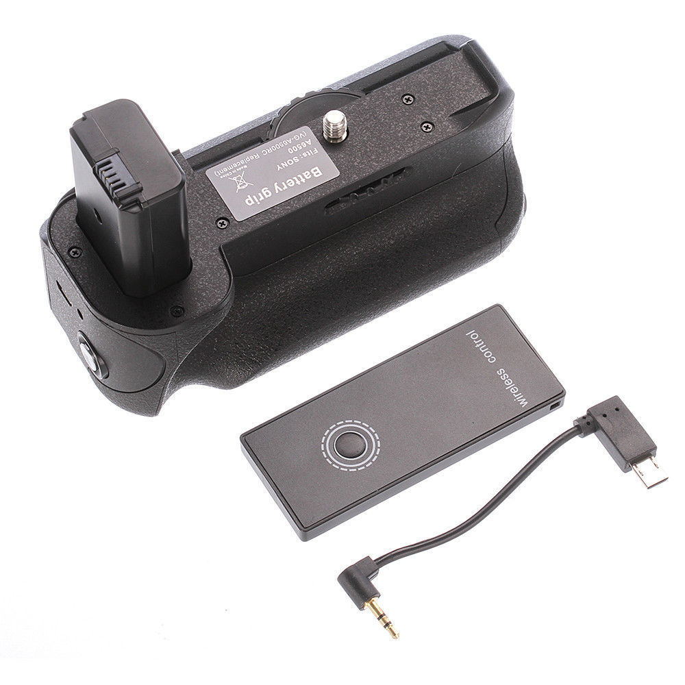 Battery Grip For Sony A6500 Mirrorless Camera as VG A6500RC + IR Wireless Remote ,use NP FW50
