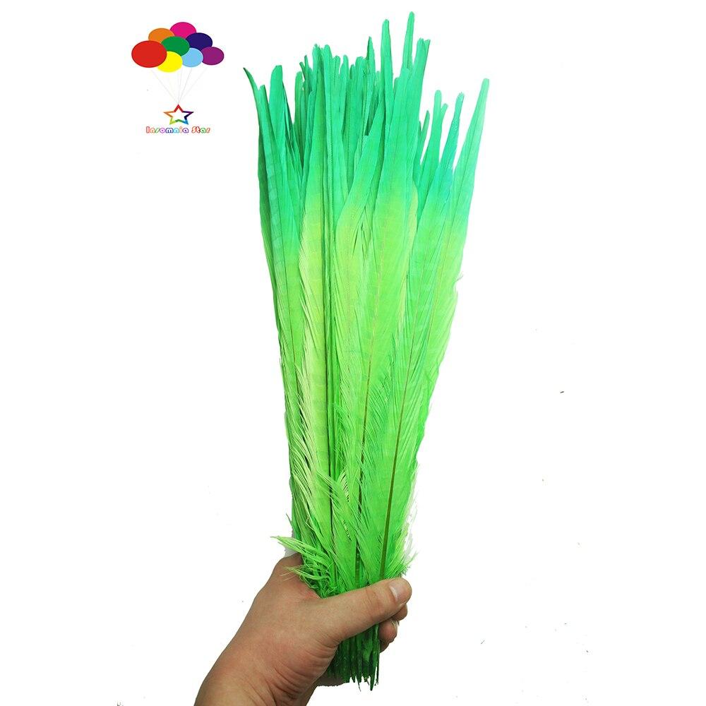 100 pièces 100% naturel premium faisan plume queue pointe 40-45 cm/16-18 pouces herbe vert et vert pour costume à faire soi-même masque coiffe