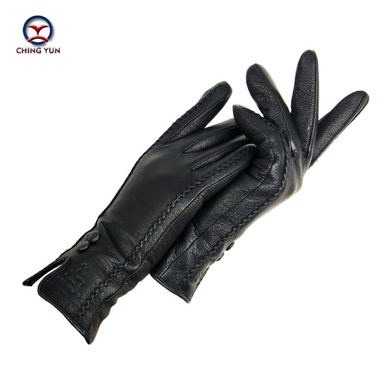 CHINGYUN New Women's Gloves High Quality Soft Thicken Genuine Leather Gloves Winter Autumn Ladies Fashion Brand Black Warm