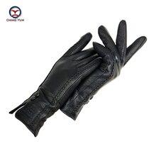 Chingyun novas luvas femininas de alta qualidade macio engrossar luvas de couro genuíno inverno outono senhoras marca moda preto quente