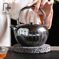 Большой 800 мл Чай Горшок стерлингового серебра 999 чайник ручной работы Чай японский высокого класса Чай горшок серебро сердце Сутра Рождест