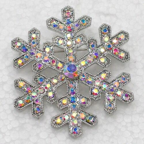 12pcs lot Wholesale Rhinestone Christmas Snowflake Pin brooches C101926