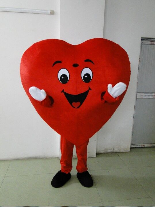 Adult red heart costume mascot adult size mascot costume