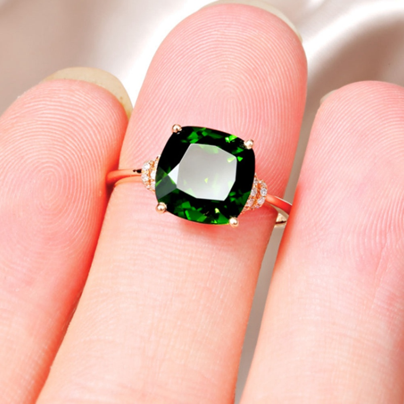 Classic Rose GOLD Color Green Rhinestone Ring for Wedding /Engagement