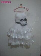 Designer White Black Ribbon Sexy dress