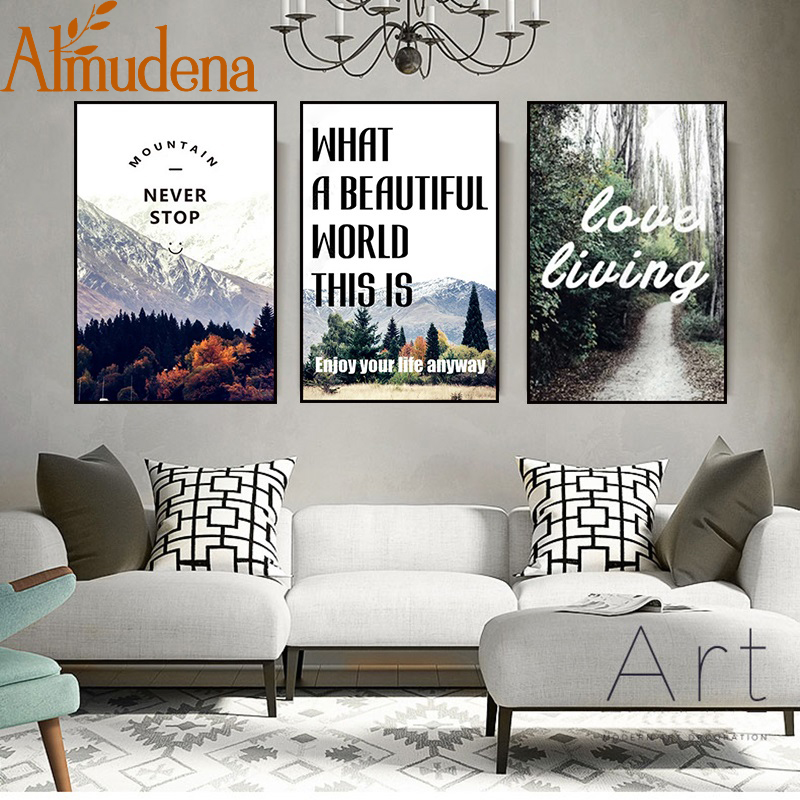 Nordic Art Landscape Posters and Prints for Office Wall Motivational Quotes Love Living Paintings on Canvas Modern Home Decor image