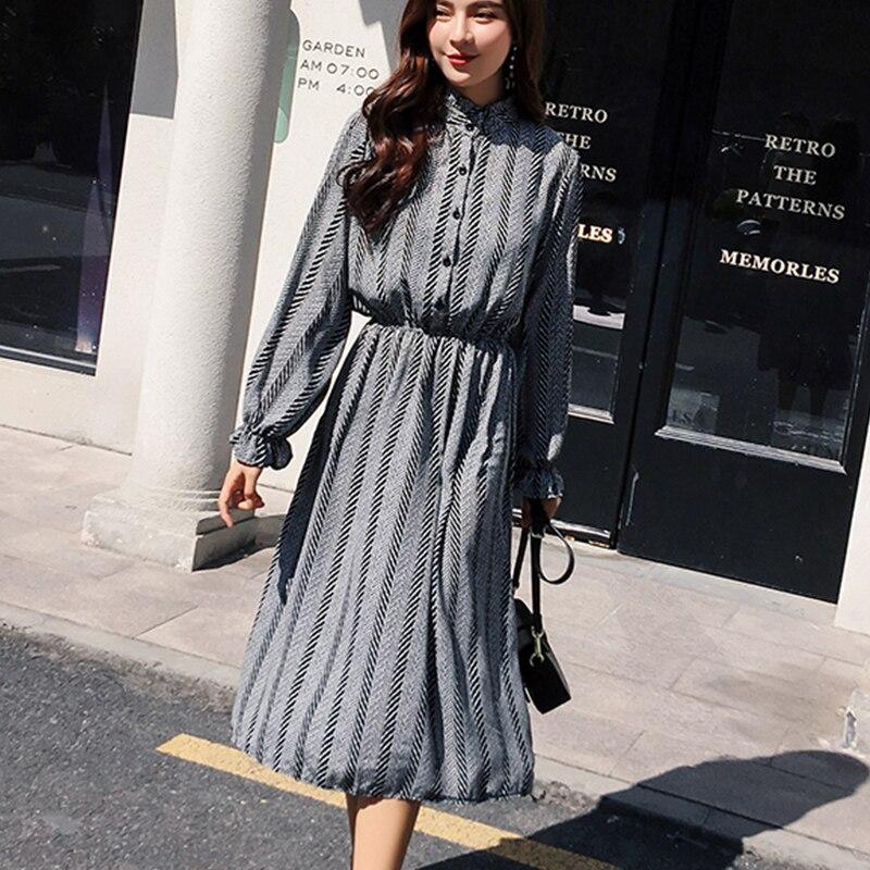 Women chiffon dress 2019 spring autumn female vintage print elegant a-line dress long sleeve loose casual office lady dress 2