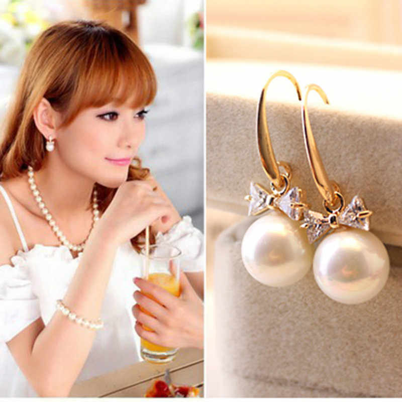 2018 high quality fashion zircon earrings imitation rhinestone large pearl bow earrings wholesale