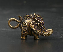 41MM/1.6 Collection Curio Rare Chinese Fengshui Small Bronze Exquisite Animal Wild Boar Sus Scrofa Pendant Statue Statuary 27g