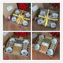 12 Pcs/Set Japanese Style Cherry Blossom Chopsticks Ceramic Sushi Dishes Sashimi Soysauce Dish Set Gift Box