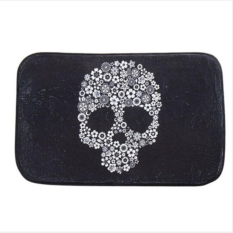 1PC Black Flower Skull Antiskid Doormat Coral Fleece Floor Door Mat Square  Carpet Rug Coral Fleece Material Square On Sale